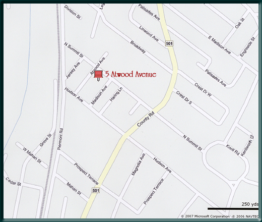 Map showing location of Tenafly Arts studios.